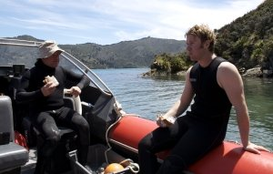 Tom (right) on a pāua research trip during his PhD