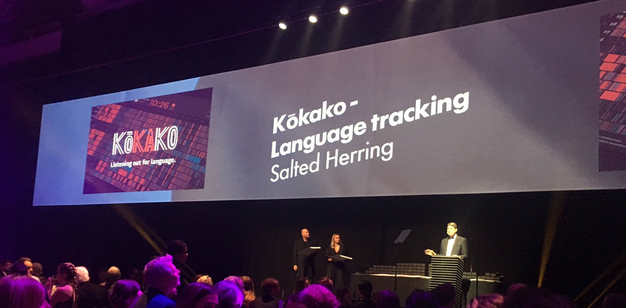 The Kōkako award being announced, photo by Simon Winter of Salted Herring